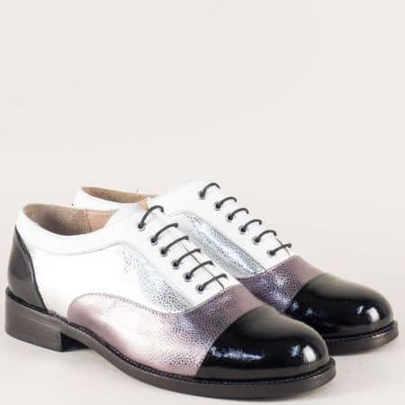 Кожени дамски обувки с връзки в черно, бяло и бронз m433ps