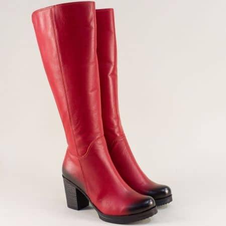 Червени дамски ботуши от естествена кожа на ток m440chv