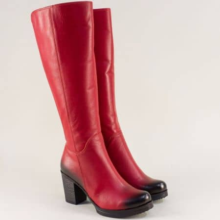 Червени дамски ботуши от естествена кожа на висок ток m440chv