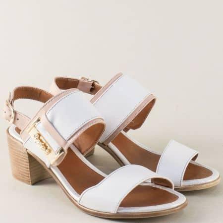 Кожени дамски сандали в бяло и розово на среден ток m441brz