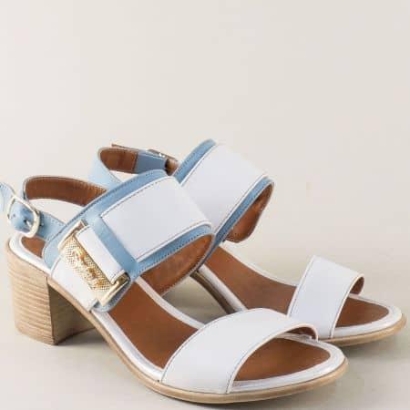 Дамски сандали в синьо и бяло с кожена стелка m441bs