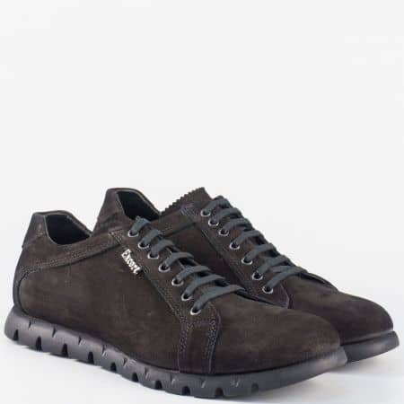 Модерни мъжки обувки с връзки от естествен черен набук m44nch