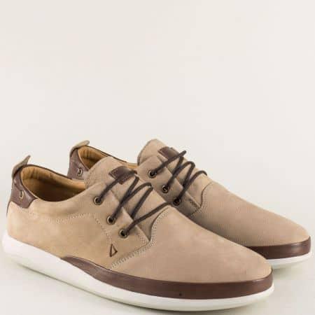 Бежови мъжки обувки с връзки от естествен набук и кожа m452vbj