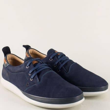 Тъмно сини мъжки обувки от естествен набук и кожа m452vs