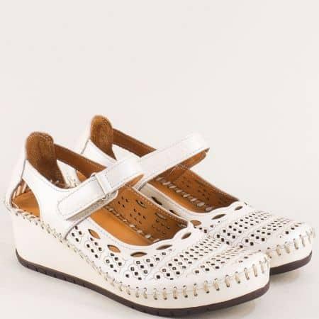 Дамски летни обувки на клин ходило от естествена кожа m460bj