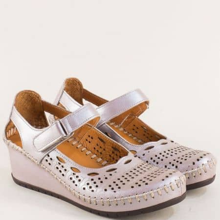 Кожени дамски обувки на клин ходило с лепка в лилаво m460bjl