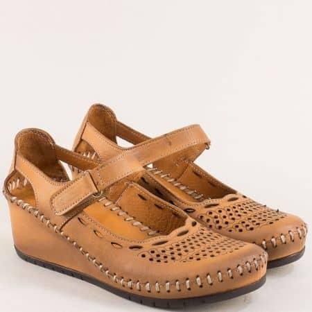 Кафяви дамски обувки от естествена кожа на клин ходило  m460k