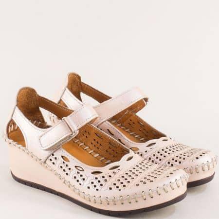 Розови дамски обувки от естествена кожа на клин ходило m460rz