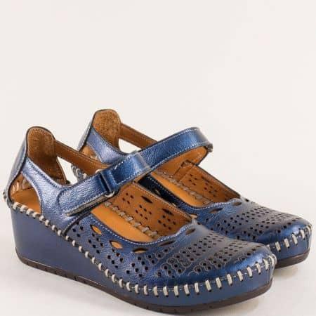 Дамски обувки на платформа от естествена кожа в син цвят m460ts