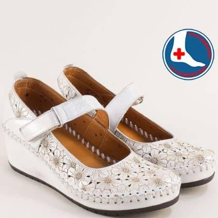 Анатомични дамски обувки от естесвена кожа с перфорация в бяло m4701sr