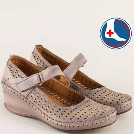 Ортопедични дамски обувки с лепка в бежово и лилаво m4703bjl