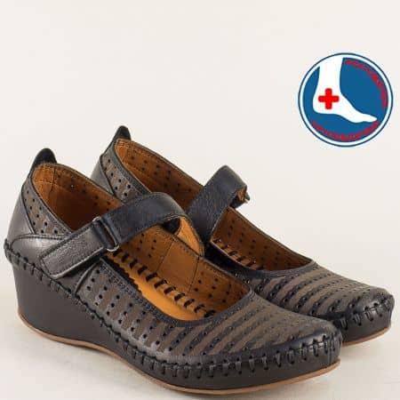 Кожени дамски обувки на клиин ходило в черен цвят m4703ch