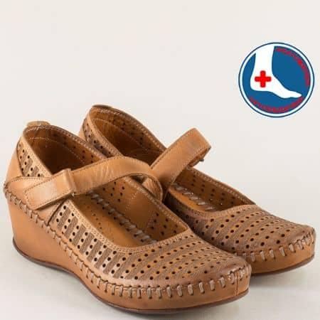 Кафяви дамски обувки на клин ходило с кожена стелка  m4703k
