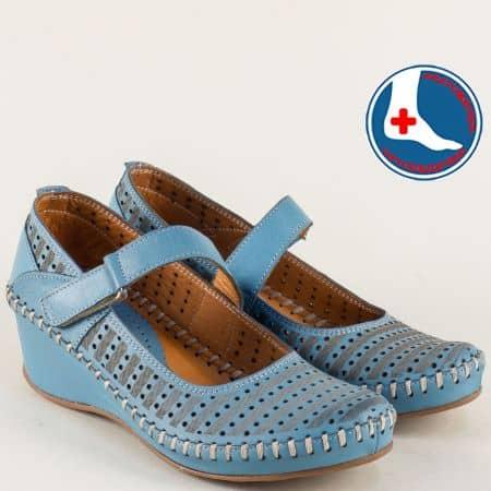 Перфорирани дамски обувки от синя естествена кожа m4703s