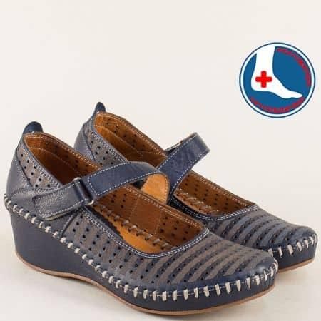 Тъмно сини дамски обувки на клин ходило с лепка m4703ts