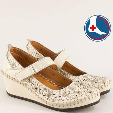 Бежови дамски обувки на клин ходило от естествена кожа m470bj1