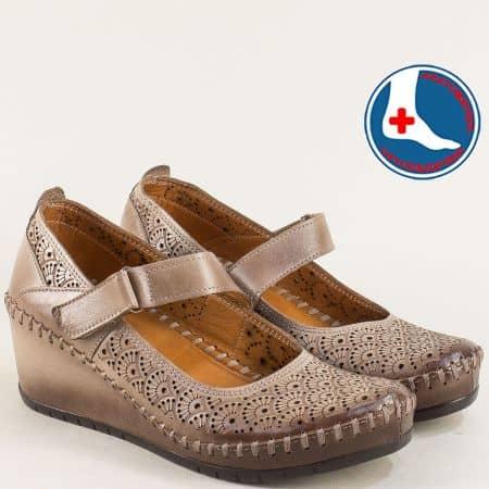Кожени дамски обувки на клин ходило в тъмно бежово m470tbj