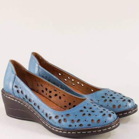 Сини дамски обувки с перфорация от естествена кожа на платформа m5004s