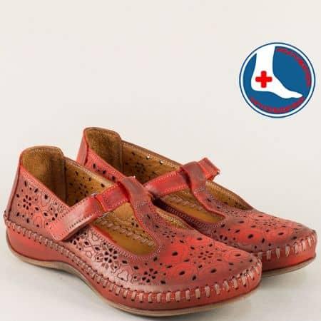 Шити дамски обувки от естествена кожа в червен цвят m5005chv