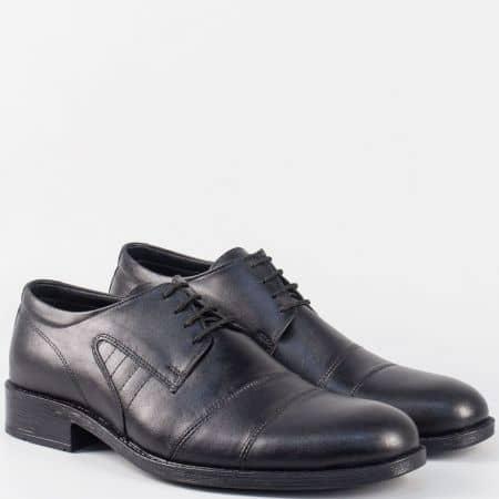 Мъжки обувки с връзки и кожена стелка в черен цвят m5018ch