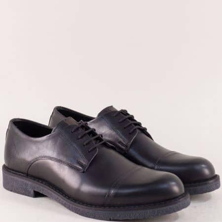 Мъжки обувки в черен цвят с връзки и кожена стелка m5045ch1