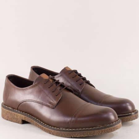Тъмно кафяви мъжки обувки от естествена кожа  m5045kk1