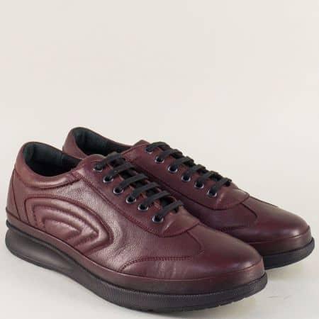 Мъжки обувки с връзки от естествена кожа в цвят бордо m504bd
