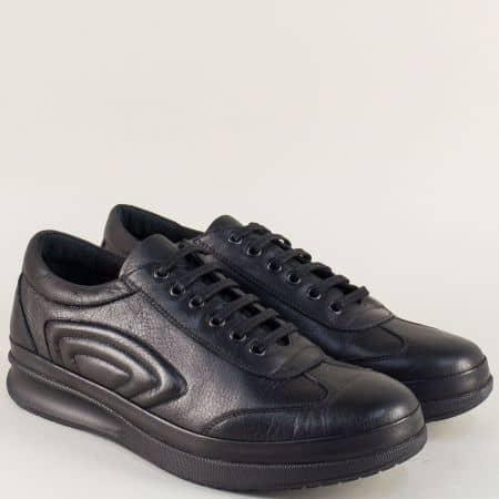 Мъжки обувки с връзки в черен цвят от естествена кожа m504ch