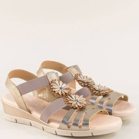 Златни дамски сандали на клин ходило от естествена кожа m5090zl