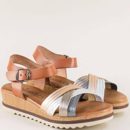 Дамски сандали в кафяво, бронз, сребро и розово злато m5100kps