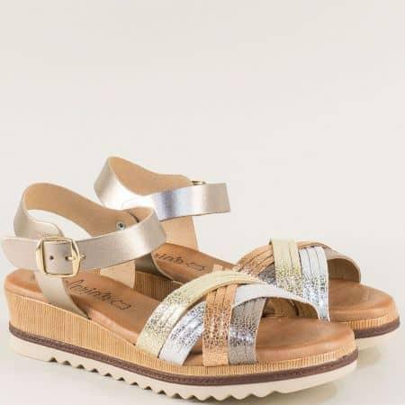 Дамски сандали в бронз, злато и сребро от естествен кожа m5100zlps