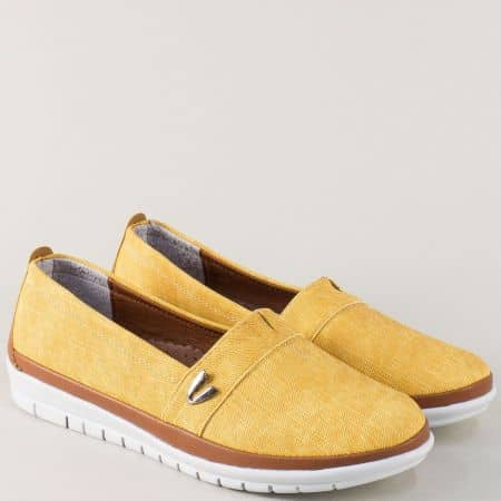 Дамски обувки с ластик в жълто и кафяво на равно ходило m51dj