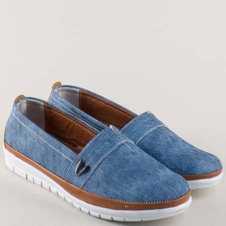 Равни дамски обувки в кафяво и синьо с ластик m51ds