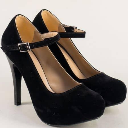 Дамски обувки на висок ток и платформа в черен цвят n520vch