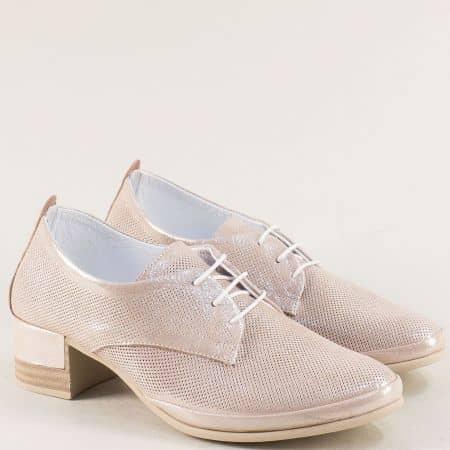 Розови дамски обувки от естествена кожа и сатен  m521srz