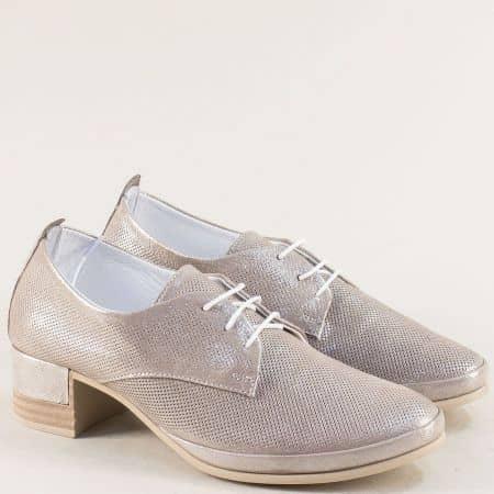 Сиви дамски обувки на нисък ток с перлен блясък m521ssv