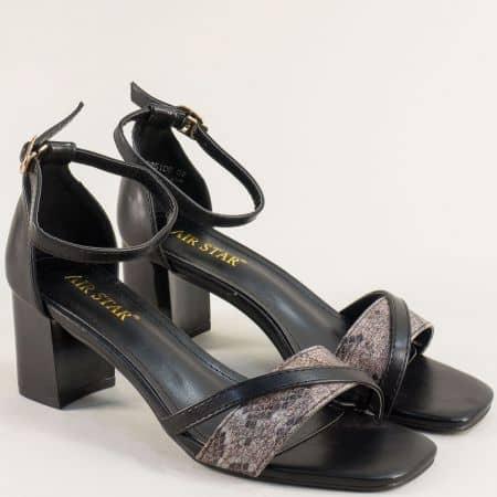Черни дамски сандали със змийски принт на среден ток- MAT STAR m525100ch
