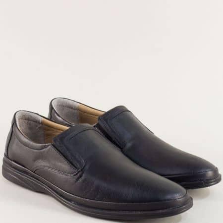 Мъжки обувки с два ластика от естествена кожа в черно m5295ch