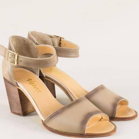 Бежови дамски сандали от естествена кожа на висок ток m52bj