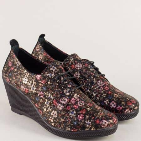 Пъстри дамски обувки на клин ходило от естествена кожа m555chps