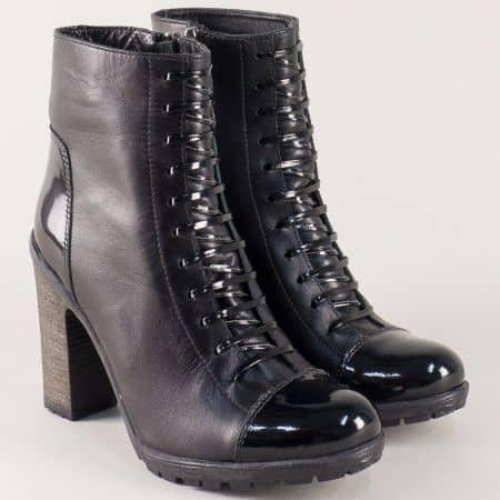 Черни дамски боти на висок ток от естествена кожа и лак  m55ch