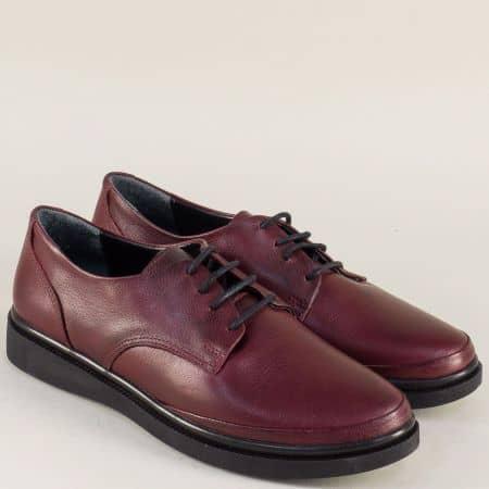 Дамски обувки с връзки от естествена кожа в цвят бордо m575bd