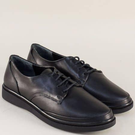 Равни дамски обувки в черен цвят с кожена стелка m575ch