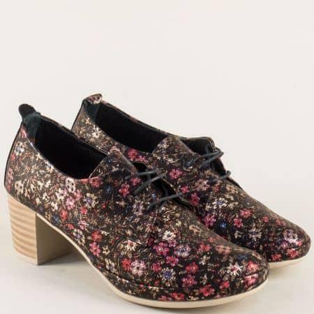 Пъстри дамски обувки на среден ток с кожена стелка m5808chps