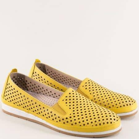 Жълти дамски обувки на равно и гъвкаво ходило от естествена кожа m6007j