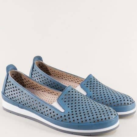 Перфорирани дамски обувки в син цвят с кожена стелка m6007s