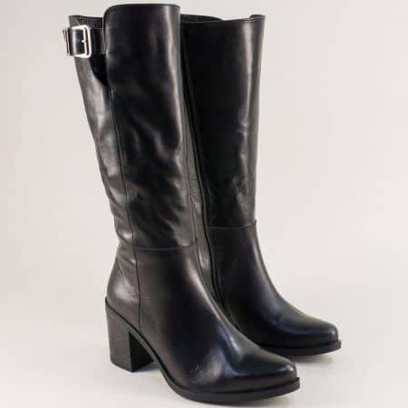 Естествена кожа дамски ботуши на висок ток в черен цвят m6010ch