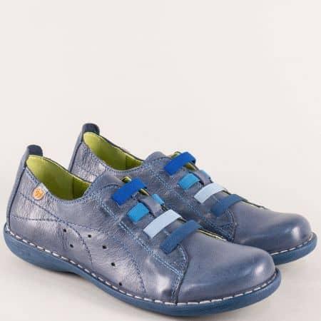 Кожени обувки с ластик в син цвят на шито ходило m6020s