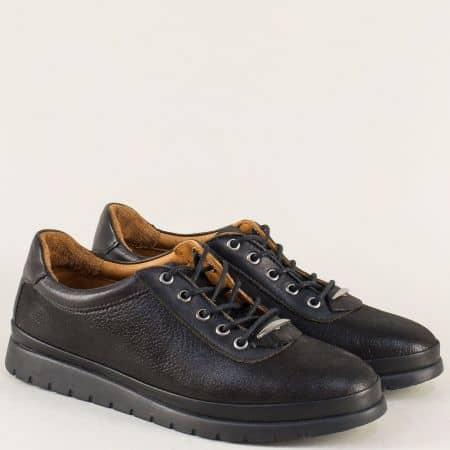 Дамски обувки с връзки от естествена кожа в черен цвят m604ch