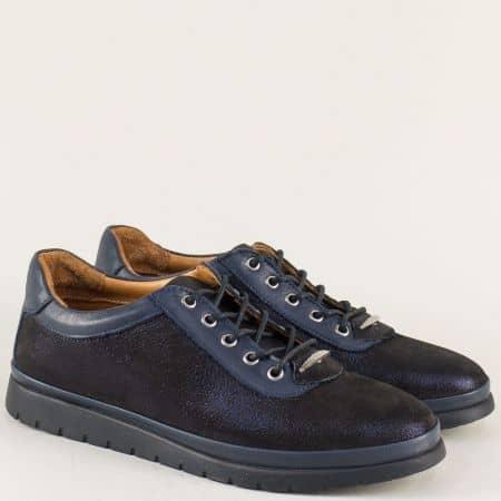 Тъмно сини дамски обувки с връзки от естествена кожа m604s
